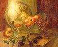Watercolor still life. Burning candle illuminates fruits, flower Royalty Free Stock Photo