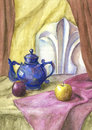 Watercolor still life with drapery watercolour and apples Royalty Free Stock Photos