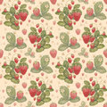 Watercolor strawberry pattern on the old paper Stock Photos