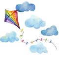 Watercolor striped kite air set. Hand drawn vintage kite with clouds and retro design. Illustrations isolated on white background Royalty Free Stock Photo