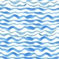 Watercolor strips seamless pattern set.Blue cyan