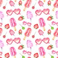 Watercolor summer berry popsicles seamless pattern on white background. Heart shaped sunglasses, strawberry, lollipop