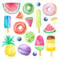 Watercolor summer fruits, donut and icecream