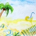 Watercolor summer poster on beach background