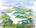 Watercolor summer river landscape vector illustration Royalty Free Stock Photo