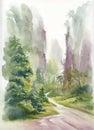 Watercolor summer rural landscape vector illustration Royalty Free Stock Images