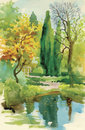 Watercolor summer rural landscape vector illustration Royalty Free Stock Photo