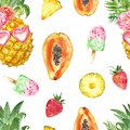 Summer fruits seamless pattern. Fun and cute print with pineapple, papaya, strawberry, watermelon popsicles on white background.