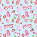 Watercolor summer seamless pattern with sweet popsicles, candy, sunglasses and srtawberry on blue background.