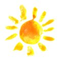 Watercolor sun icon Royalty Free Stock Photo
