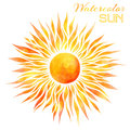 Watercolor sun vector illustration. Royalty Free Stock Photo