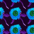 Watercolor sunflower seamless summer pattern, painted by hand, vector image. Royalty Free Stock Photo