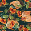 Watercolor sunflowers with pumpkin. Seamless pattern on a dark background.