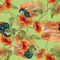 Watercolor sunflowers with pumpkin. Seamless pattern on a lime green background.