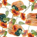 Watercolor sunflowers with pumpkin. Seamless pattern on a white background.