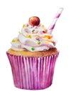 Watercolor sweet cupcake