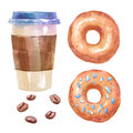 Watercolor sweets set with donuts and coffee