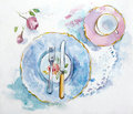 Watercolor table setting hand drawn Royalty Free Stock Images