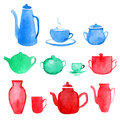 Watercolor tableware  on white Royalty Free Stock Photo