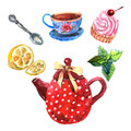 Watercolor tea set with cup teapot spoon and dessert isolated vector illustration Royalty Free Stock Photo