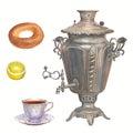 Watercolor tea time collection. Samovar, porcelain cup of tea, b
