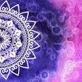 Watercolor texture. Mandala. For card