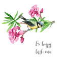Watercolor Tit Bird on a Blooming Oleander Branch