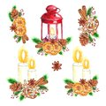Watercolor traditional Set of red lantern with candle and Christmas decor