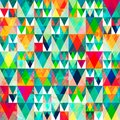 Watercolor triangle seamless pattern with grunge effect