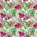 Watercolor tropical floral seamless pattern. hand-drawn wild nature illustration