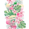 Watercolor tropical flowers, branches and leaves background -abstract seamless pattern tropical plant