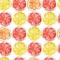 Watercolor tropical fruit pattern. lemon, orange, grapefruit print for the textile fabric, wallpaper, poster background, vibrant i