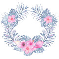 Watercolor tropical indigo floral wreath with pink calla hibiscus frangipani and leaves of indigo palm monstera