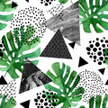 Watercolor tropical leaves and textured triangles background