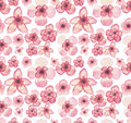 Watercolor Tropical Light Pink Flowers Repeat Pattern