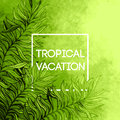 Watercolor  tropical palm tree leaf background. Tropical vacation design. Vector illustration Royalty Free Stock Photo