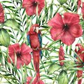 Watercolor tropical pattern with parrot. Hand painted hibiskus with palm leaves isolated on white background. Botanical