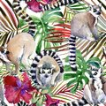 Watercolor tropical seamless pattern. hand-drawn wild nature illustration