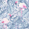Watercolor tropical seamless pattern hand painted pink flamingo and leaves of indigo palm monstera