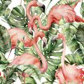 Watercolor tropical seamless pattern with pink flamingo and banana leaves. Hand painted birds and jungle palm leaves
