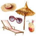 Watercolor tropical vacation set. Hand painted summer beach objects: sunglasses, beach umbrella, coctail, beach chair