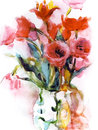 Watercolor tulip bouquet Royalty Free Stock Images
