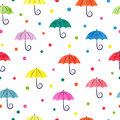 Watercolor umbrellas seamless pattern.