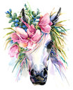 Watercolor unicorn illustration. Royalty Free Stock Photo