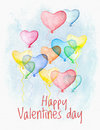 Watercolor Valentine Day card with flying hearts Royalty Free Stock Photo