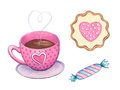 Watercolor Valentines sweets and coffee elements.