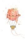 Watercolor vector air balloon