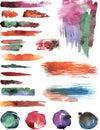 Watercolor vector strokes set of Stock Image
