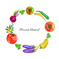 Watercolor vegetable tomato, olives, beets, chili pepper, eggplant, parsley hand drawn illustration isolated on white Royalty Free Stock Photo