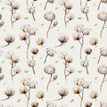 Watercolor vintage background with twigs and cotton flowers boho decoration. Softness Botanical watercolour seamless pattern Royalty Free Stock Photo